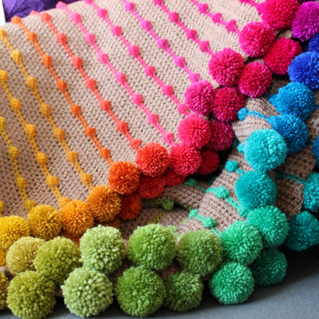 Rainbow Pompom & Bobble Throw